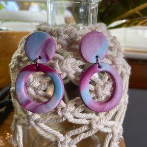 Circle clay earrings